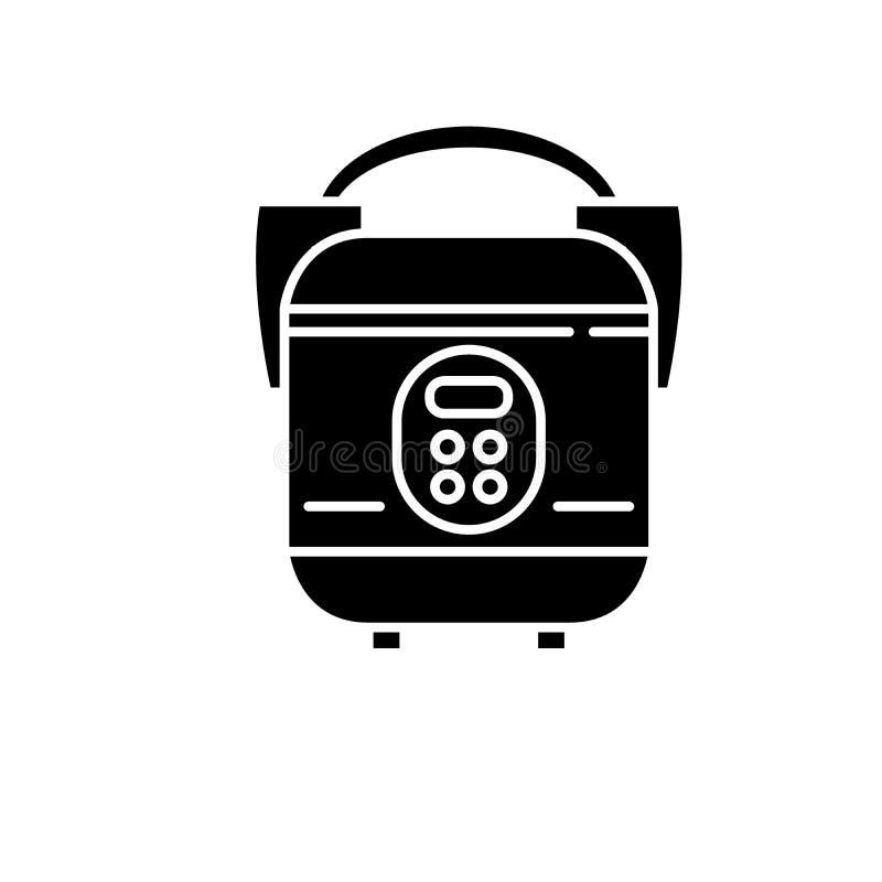 Langsame Kocherschwarzikone, Vektorzeichen auf lokalisiertem Hintergrund Langsames Kocherkonzeptsymbol, Illustration lizenzfreie abbildung