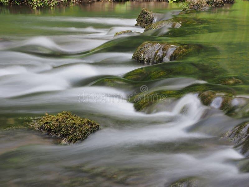 Langsames Wasser mit Moos bedeckte Stein lizenzfreie stockfotografie