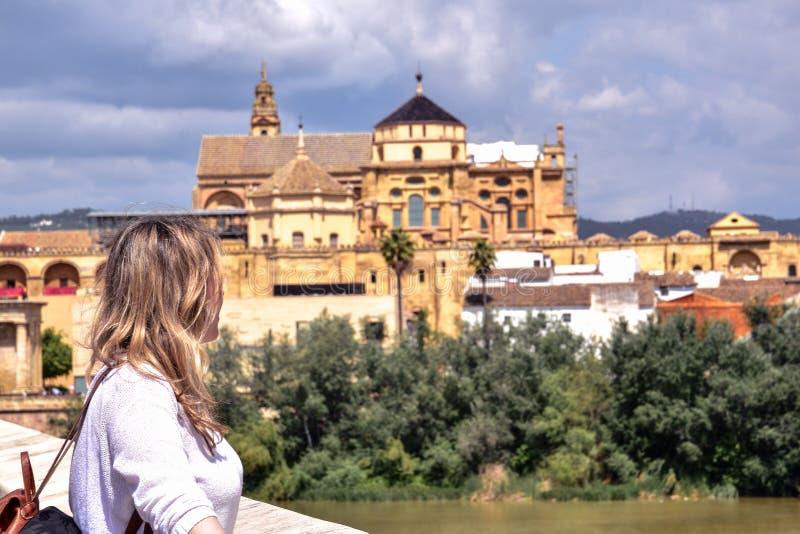 Langstreckenansicht der gro?en Moschee oder der katholischen Kathedrale Cordoba, Spanien lizenzfreie stockbilder