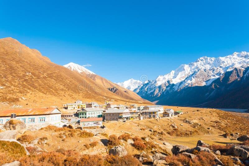 Langtang himalajów Kyanjin Gompa Halna wioska zdjęcie stock