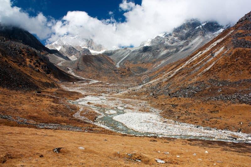 Langtang, Nepal - paisaje cerca del paso del La de Kangja foto de archivo libre de regalías