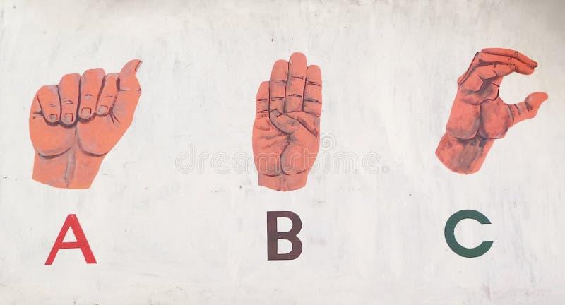 Language. A,b,c by sign language art finger language royalty free stock images