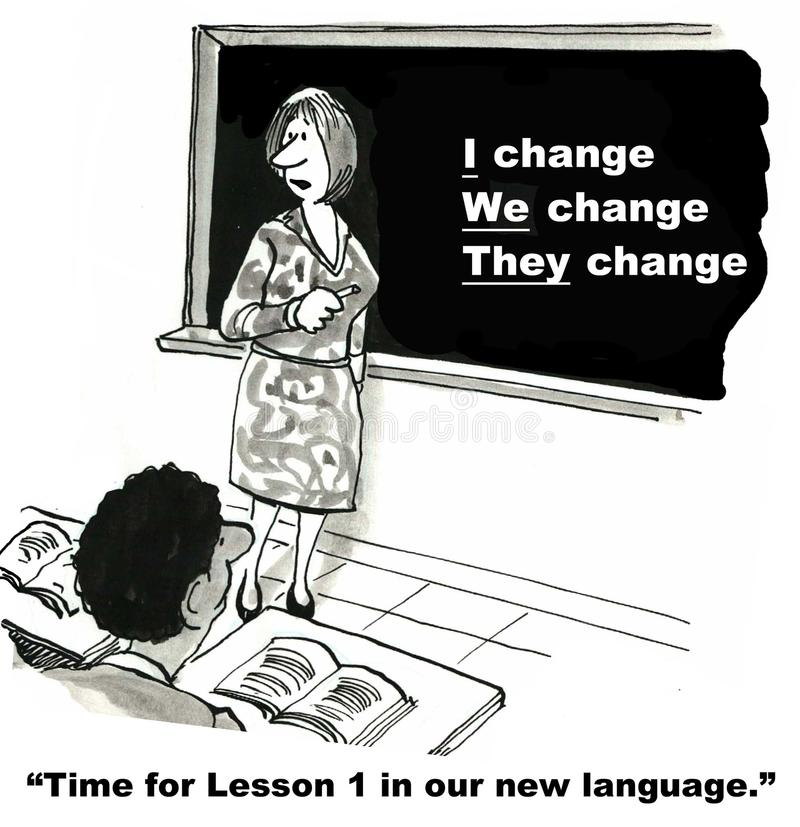 The Language of Change. Cartoon shows a classroom of business students learning about the language of change from the business instructor who is standing at a vector illustration