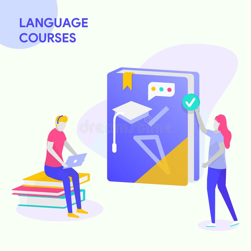 LANGUAGE COURSES BUSINESS. Illustration for business solutions, start up, LANGUAGE COURSES. Modern vector illustration concepts for website and mobile website vector illustration