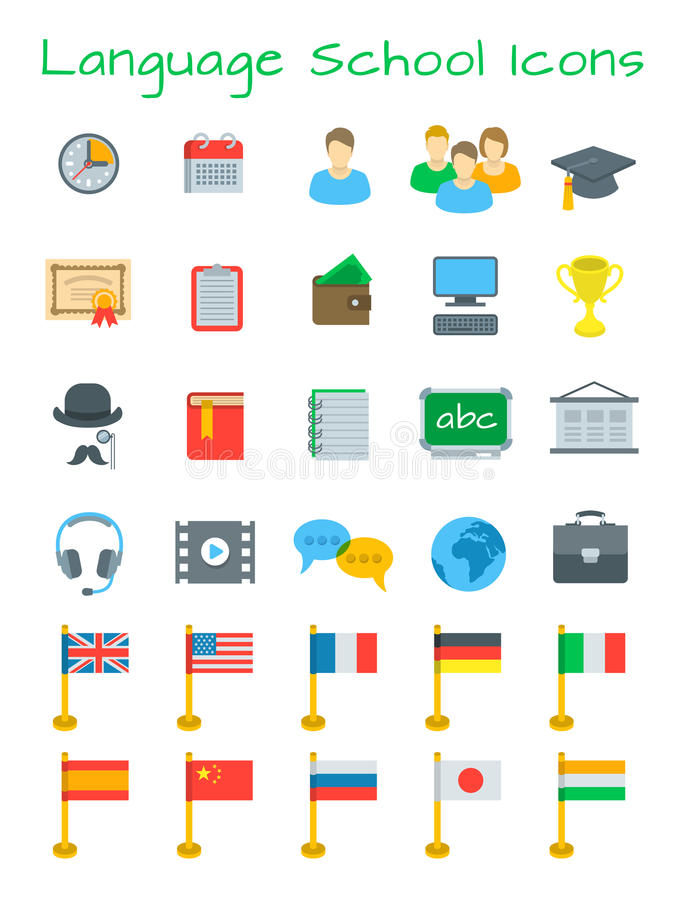 Language courses flat vector education icons. Language courses flat education vector icons. International communication in different languages. Foreign languages vector illustration