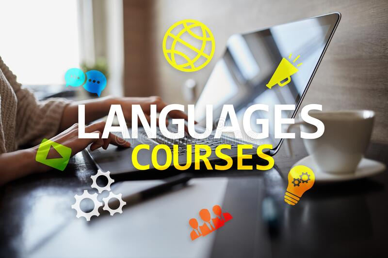 Language courses, Online learning, English shool, E-learning concept on virtual screen. royalty free stock photo