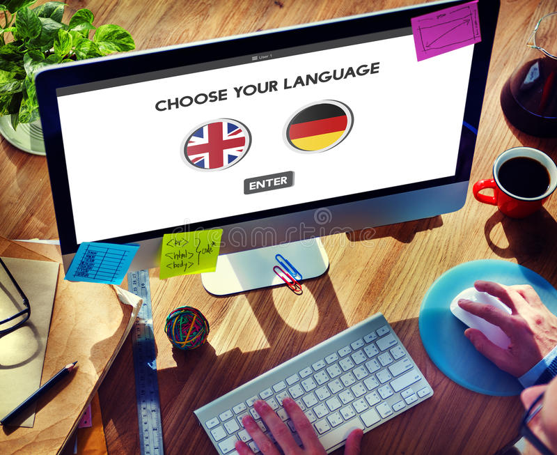 Language Dictionary English German Concept royalty free stock image