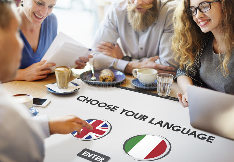 Language Dictionary English Italian Concept stock images