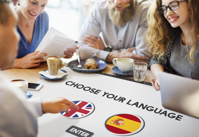 Language Dictionary English Spanish Concept stock photos