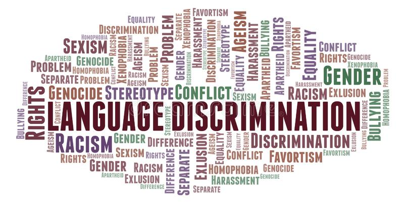 Language Discrimination - type of discrimination - word cloud. Wordcloud made with text only vector illustration