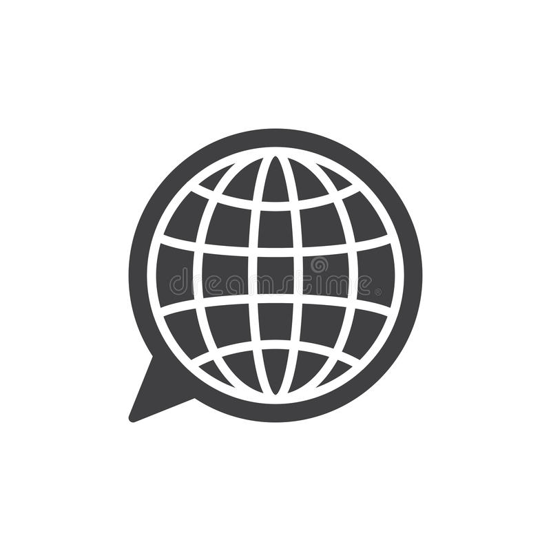 Language icon vector. Filled flat sign, solid pictogram isolated on white. Globe inside speech bubble symbol, logo illustration. Pixel perfect vector graphics stock illustration