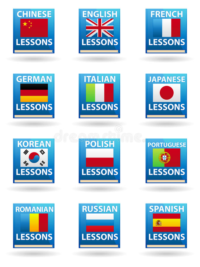 Language Icons. A set of 12 language icons in the form of books royalty free illustration