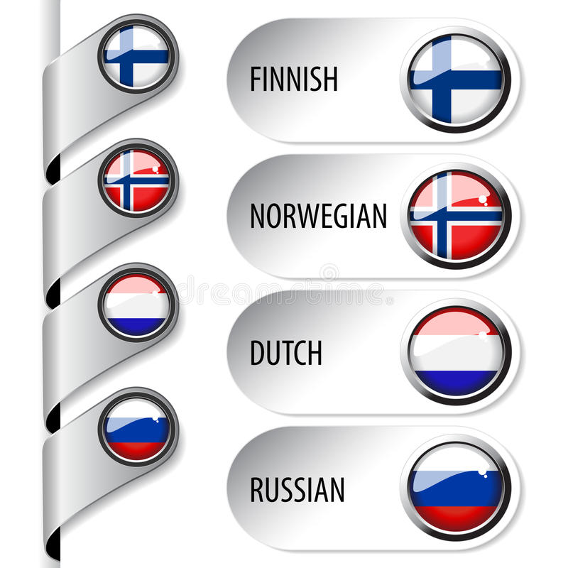 Language Pointers With Flag For Web - Set 4 Stock Images