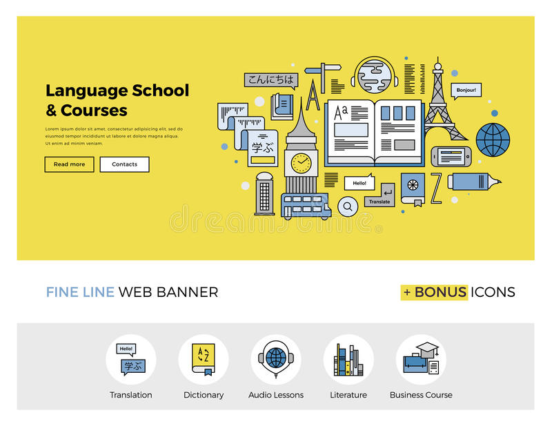 Language school flat line banner stock vector image for Architect services online