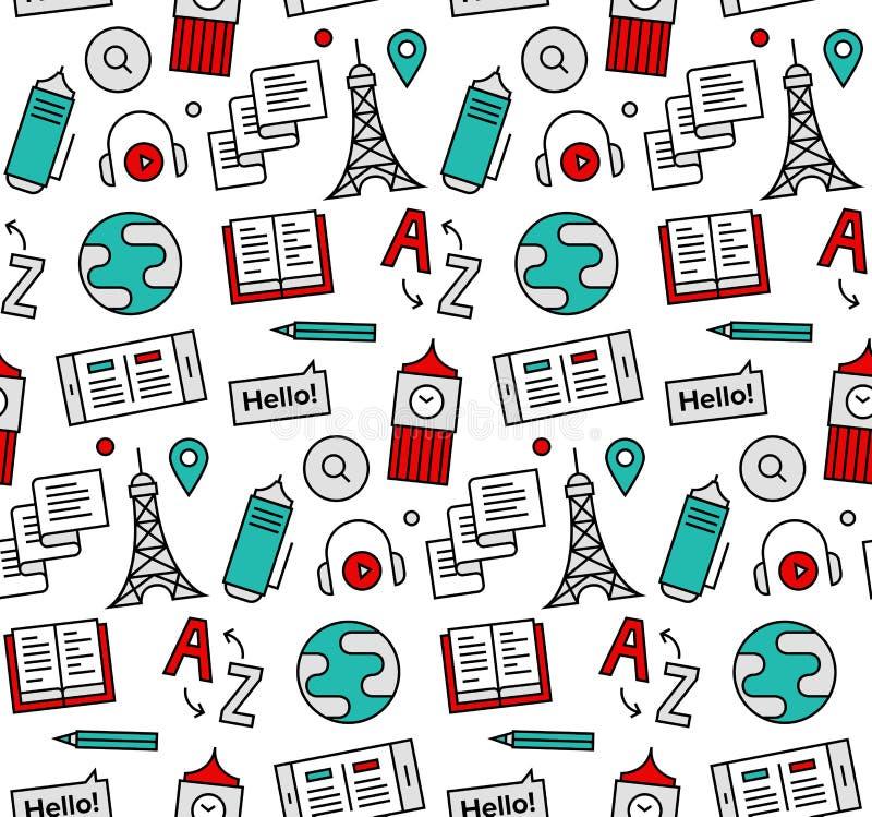 Language school seamless icons pattern stock illustration