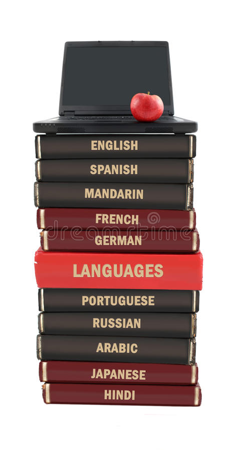 Free Language Text Books And Laptop Royalty Free Stock Photos - 10128458