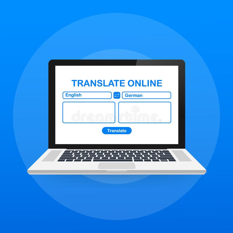 Language translation color icon. Online translator. Spell check. Computer screen with text translating app. Vector illustration. Language translation color icon royalty free illustration