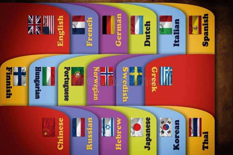 Languages Index Cards. Education background vector illustration