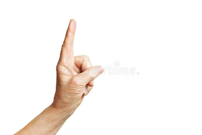 Langue de geste femelle supérieure, signes de mains d'isolement sur le fond blanc solide Vieille femelle en ses années '70/années images libres de droits