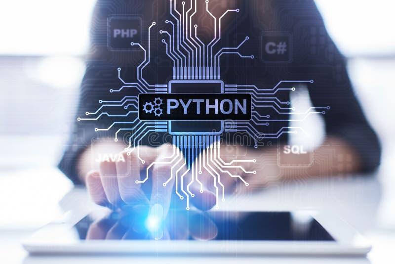 Langue de programmation de haut niveau de python Concept de d?veloppement d'application et de Web sur l'?cran virtuel image stock