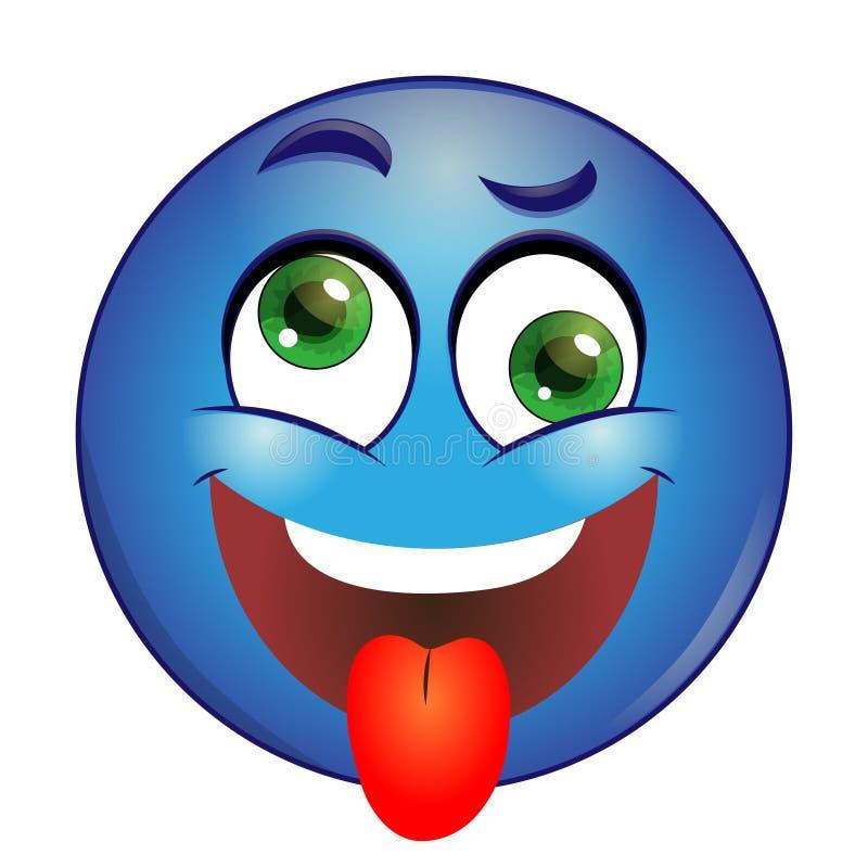 Langue de représentation souriante bleue folle sur un fond blanc illustration de vecteur