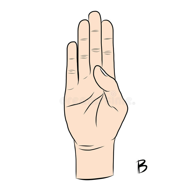 Extrêmement Langue Des Signes Et L'alphabet, La Lettre B Illustration de  MS38