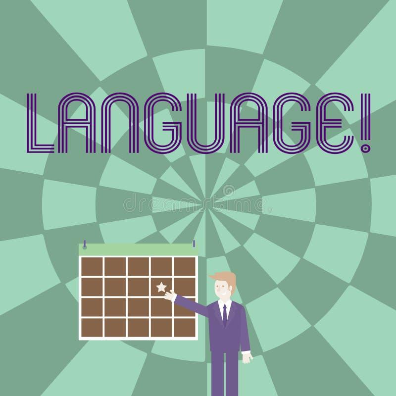Langue des textes d'écriture de Word Concept d'affaires pour la méthode d'expression écrite de mots d'utilisation parlée par comm illustration libre de droits