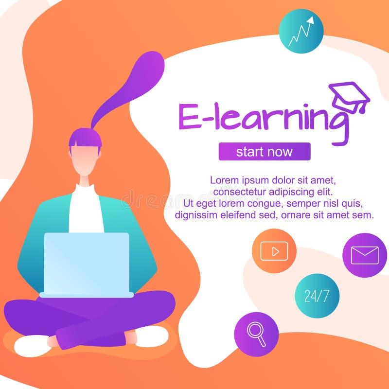 Langues étrangères de étude en ligne, fille s'asseyante pour des instruments apprendre les langues, étude en ligne par illustration de vecteur