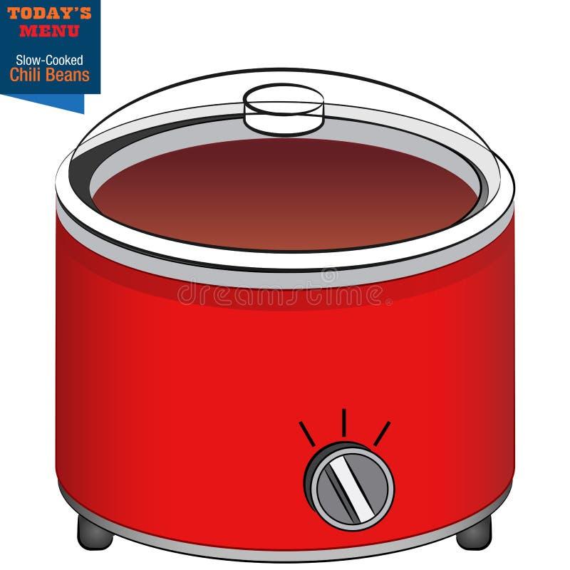 Langzaam Kooktoestel Chili Beans Todays Menu stock illustratie