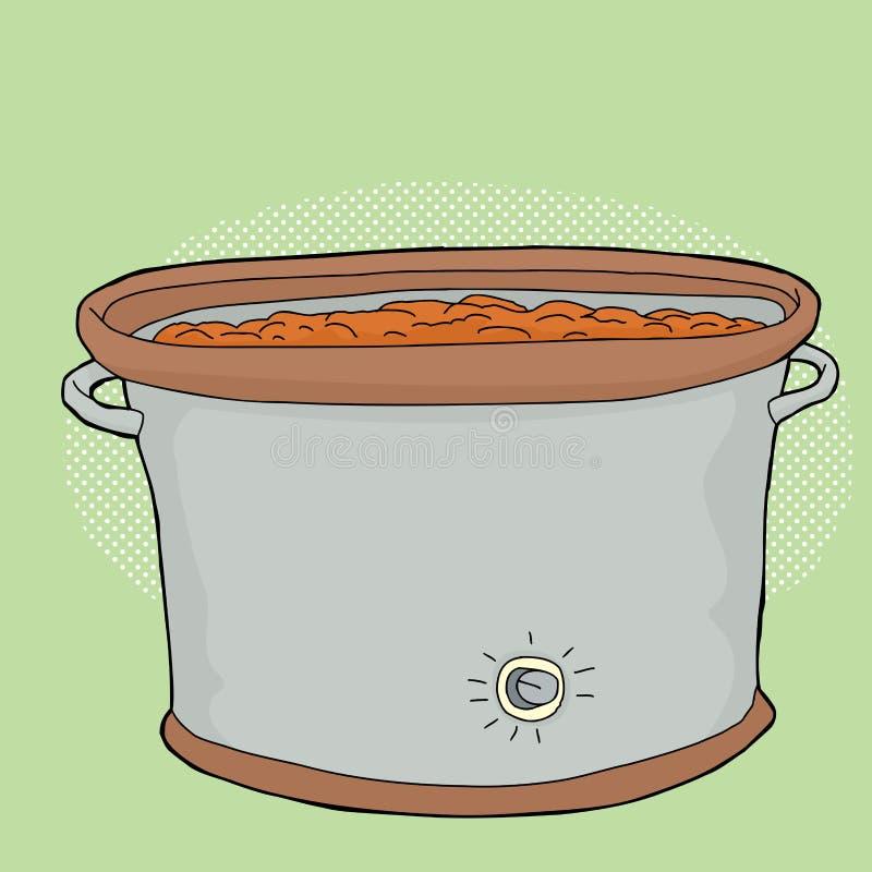 Langzaam Kooktoestel over Groen stock illustratie