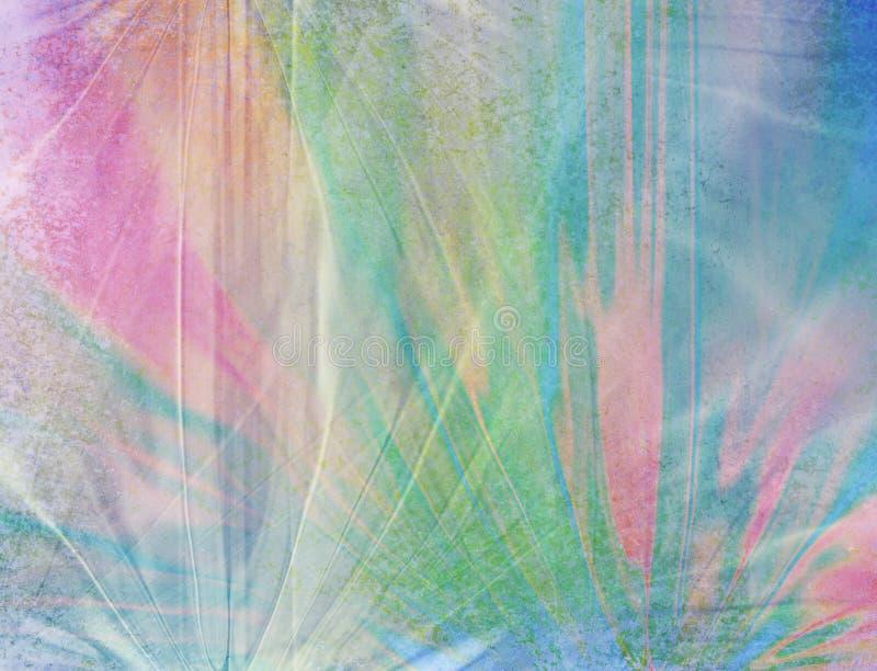 Langzaam verdwenen gerimpeld ontwerp als achtergrond met blauwe roze groene en perzikkleuren oude grungy textuur en witte grungeb royalty-vrije illustratie