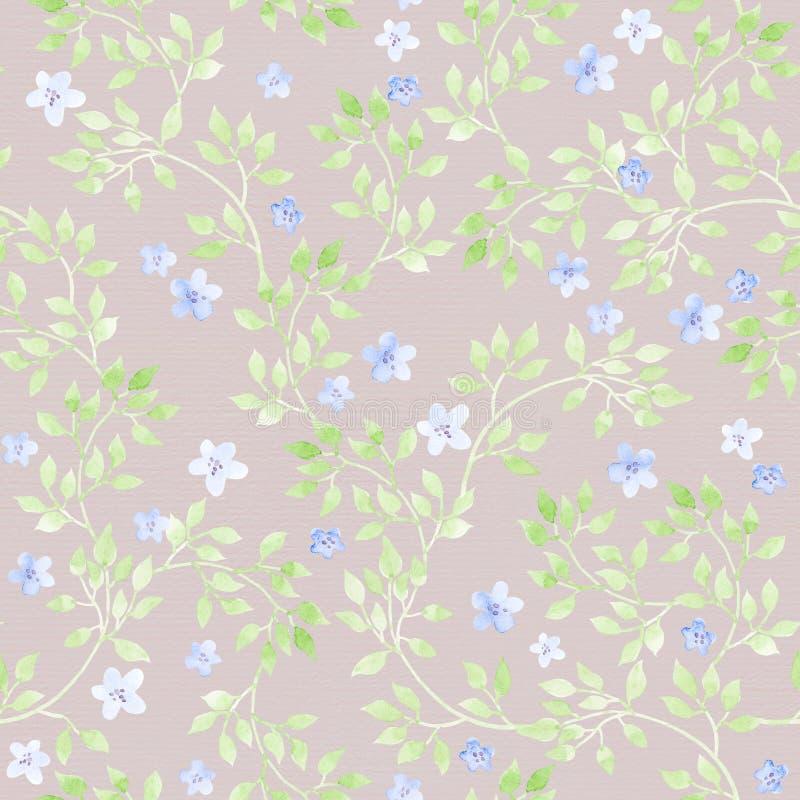 Langzaam verdwenen gras, bloemen Ditsypastelkleur herhaald patroon watercolor stock illustratie