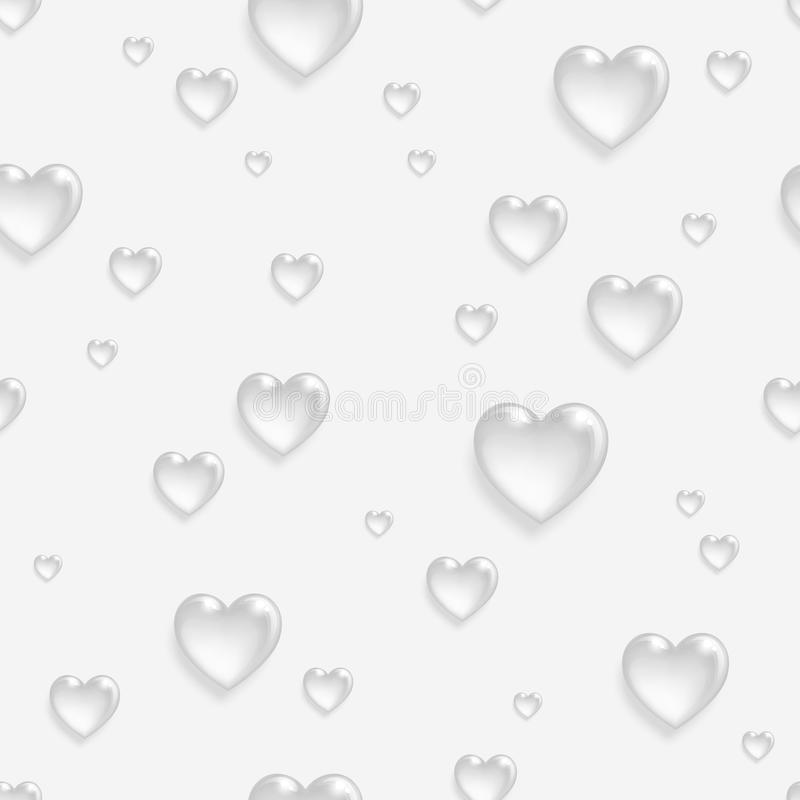 Langzaam verdwenen naadloos patroon met 3d harten royalty-vrije illustratie