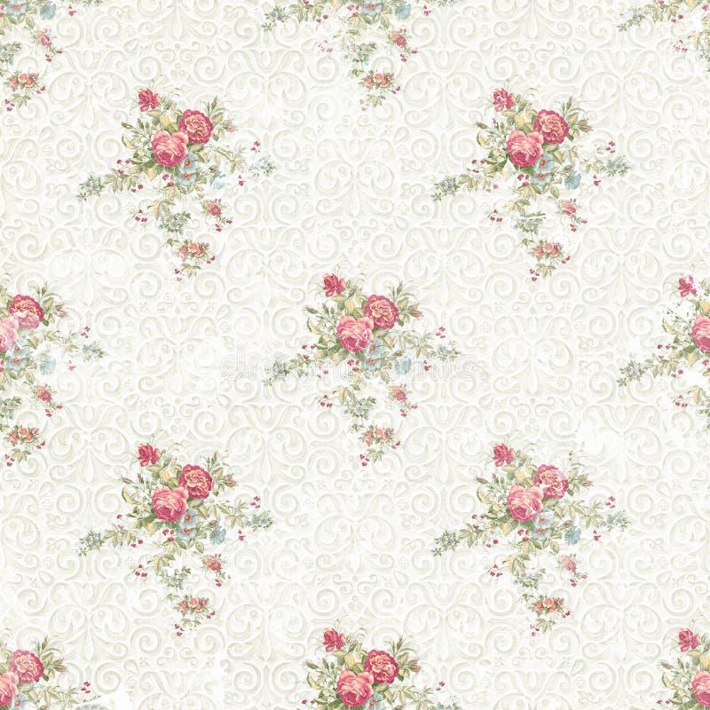Langzaam verdwenen naadloze het ornamentachtergrond van het bloempatroon stock illustratie