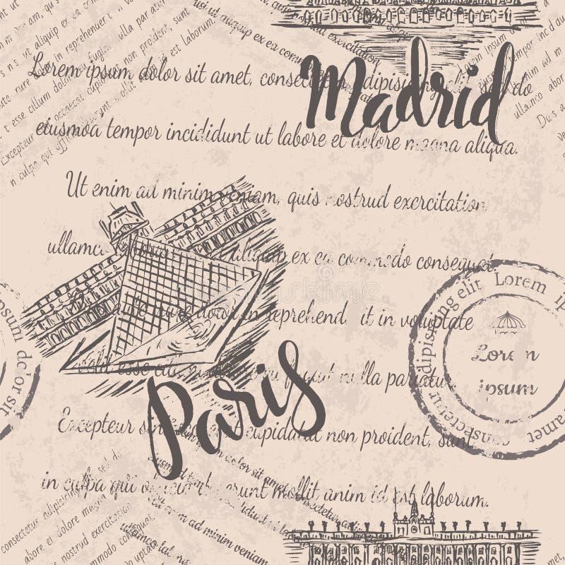 Langzaam verdwenen tekst, hand getrokken Royal Palace van Madrid, van letters voorziend Madrid, hand getrokken het Louvre, van le royalty-vrije illustratie