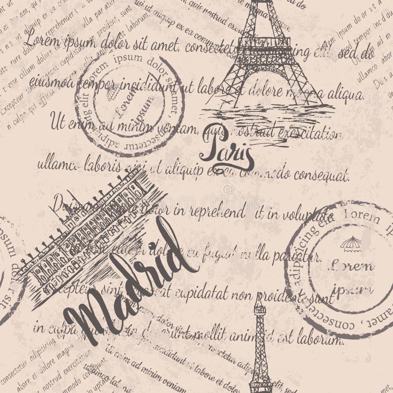 Langzaam verdwenen tekst, zegels, de Toren van Eiffel, van letters voorziend Parijs, Royal Palace van Madrid, van letters voorzie stock illustratie