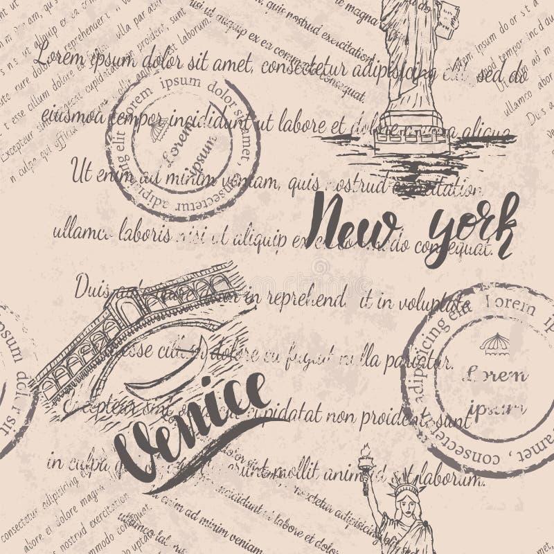 Langzaam verdwenen tekst, zegels en het Standbeeld van Vrijheid met het van letters voorzien van New York, hand getrokken de Rial vector illustratie