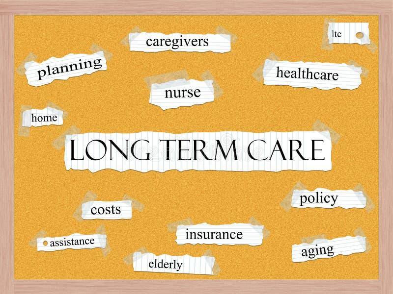 Langzeitpflege Corkboard-Wort-Konzept lizenzfreie abbildung