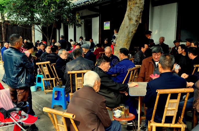 Langzhong, China: Seniors Playing Cards at Teahouse stock photo