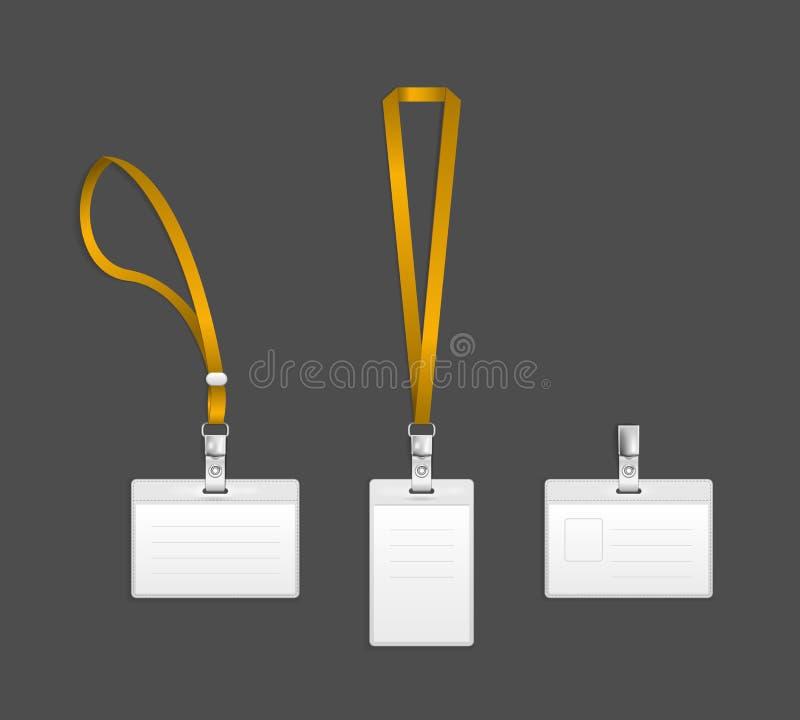 Lanière, calibres d'insigne d'extrémité de support d'étiquette de nom illustration stock