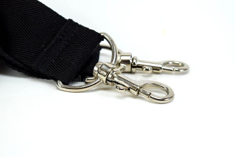Lanière de courroie de corde de ceinture noire, rupture de fermoir photos stock