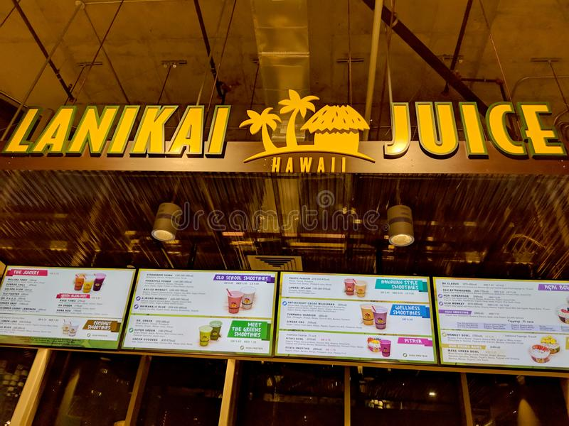 Lanikai Juice - Sign. Honolulu - July 23, 2018: Lanikai Juice - Sign. Founded in 1997, Lanikai Juice Hawaii is a food and beverage company that focuses on making royalty free stock images