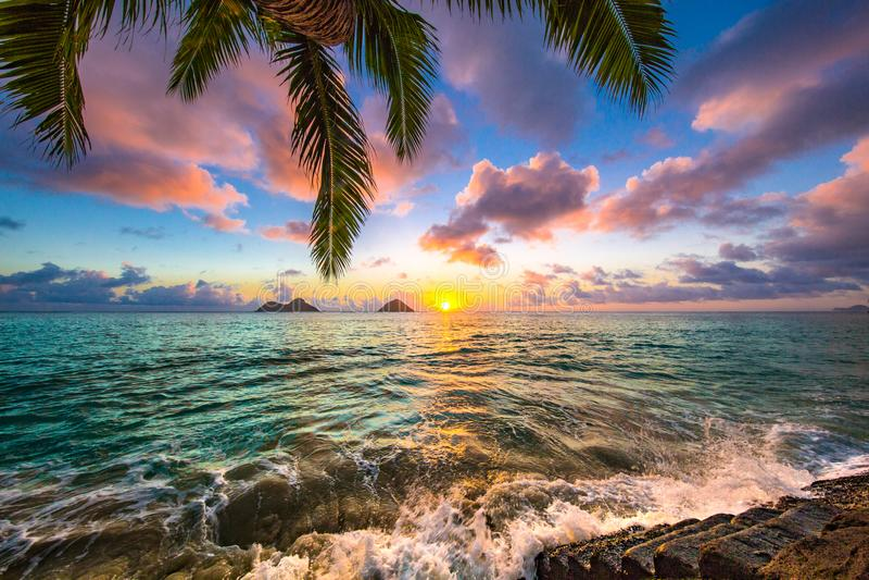 Lanikai strandsoluppgång arkivbilder
