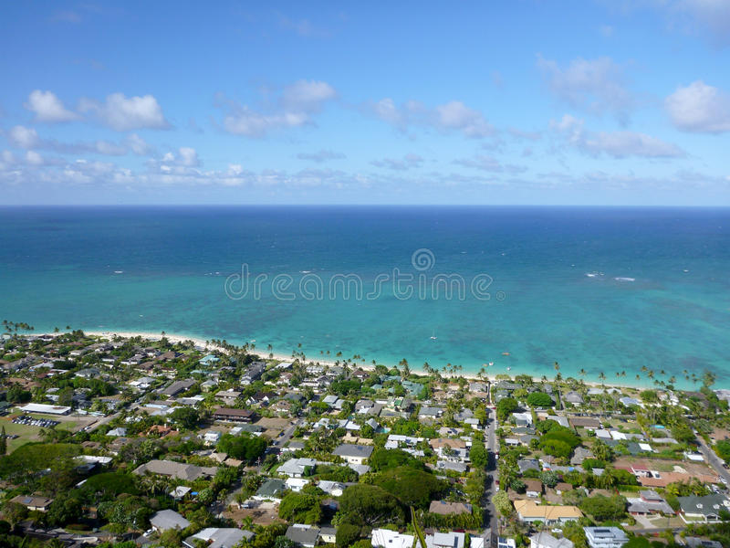Download Lanikai Town, Beach, And Pacific Ocean Stock Image - Image of clouds, blue: 29010331