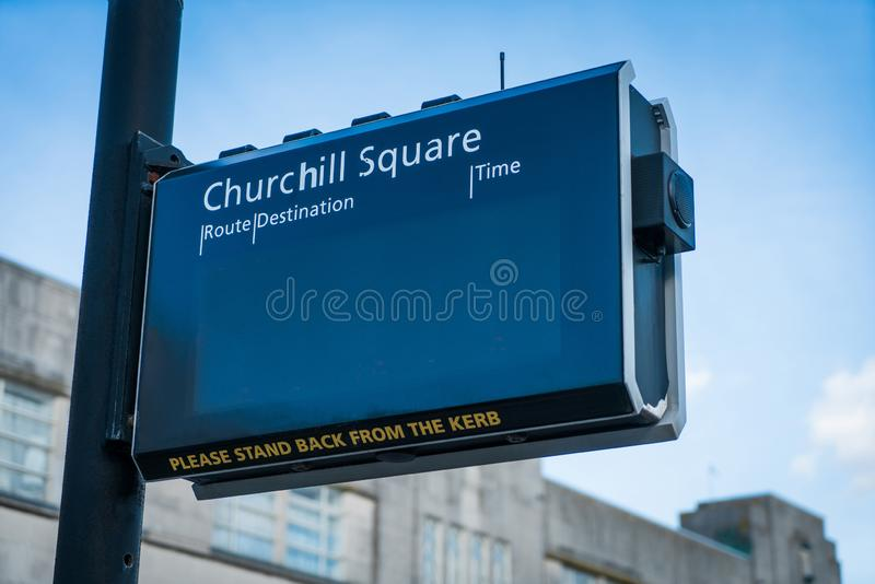 Lank digital electric led display showing timetable schedule at UK bus stop for passenger. Blank digital electric led display showing timetable schedule at UK stock image