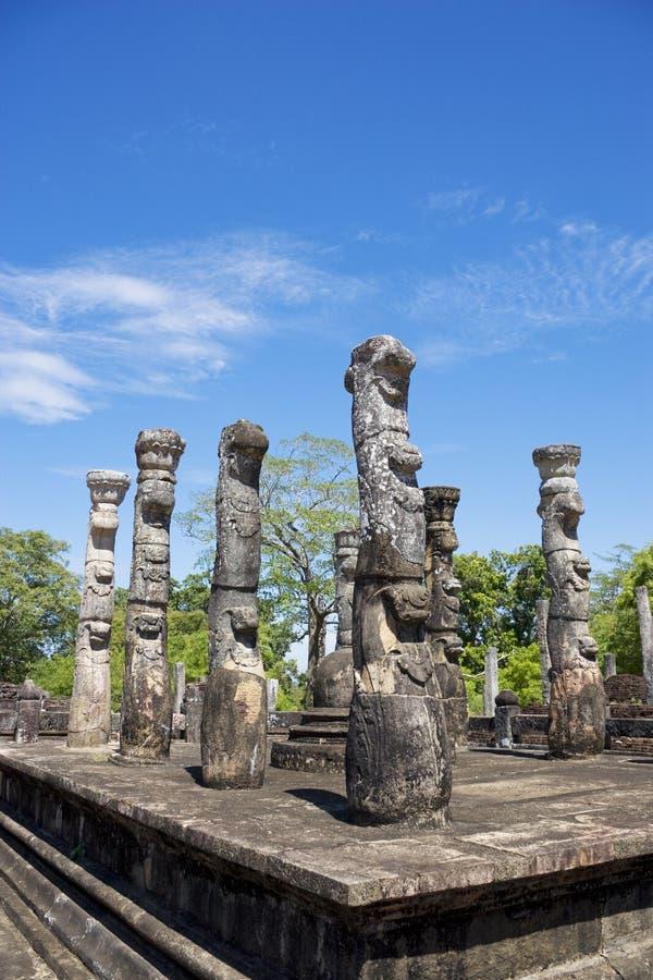 lanka mandapa nissankalata polonnaruwa sri fotografia stock