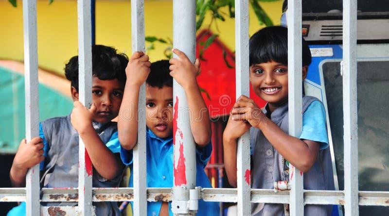 Lankankinderen in de kleuterschoolschool royalty-vrije stock afbeelding