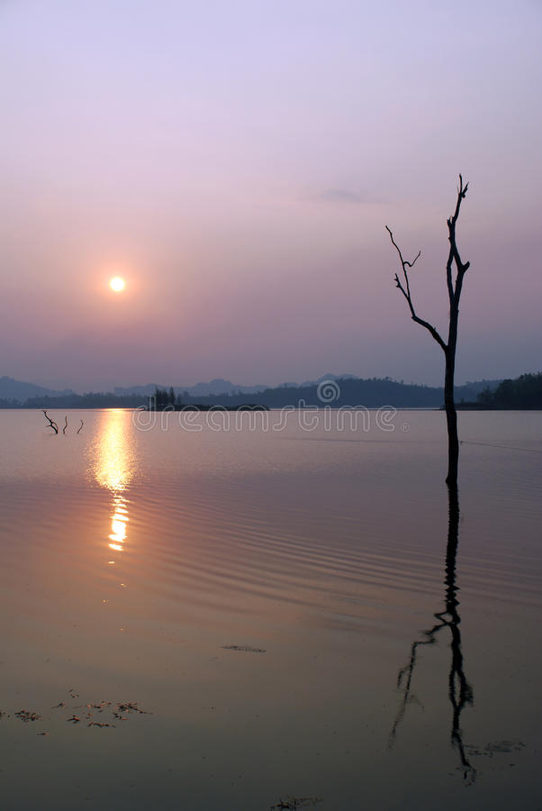Lanke sun set. At Pom Phee kanjanaburi Thailand royalty free stock photos