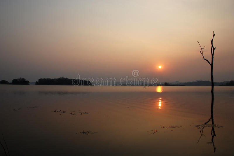 Lanke sun set. At Pom Phee kanjanaburi Thailand royalty free stock photo