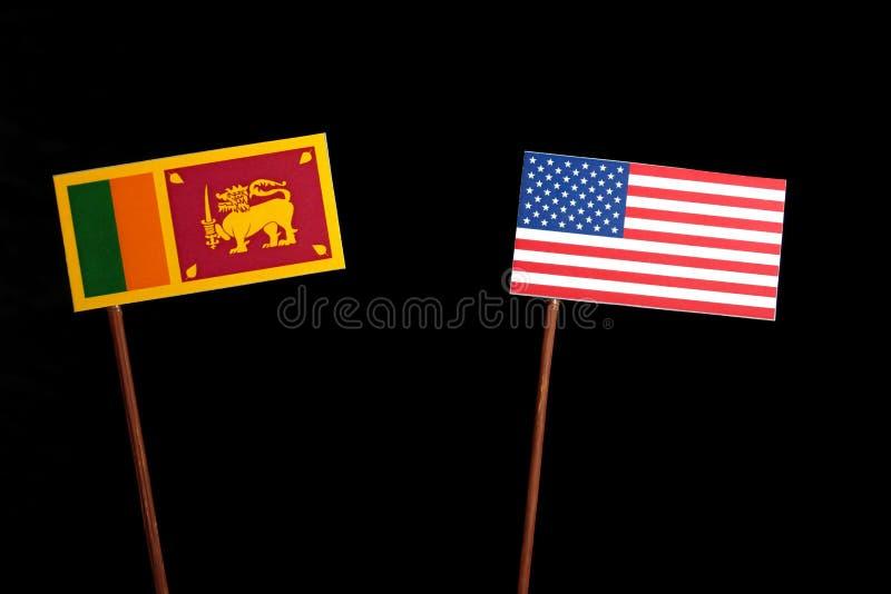 Lankijczyk flaga z usa flaga na czerni fotografia royalty free